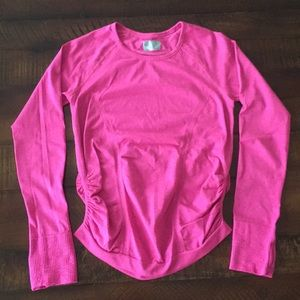 Athleta Pink Gathered Longsleeved Top. Size Small.